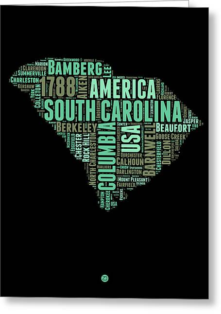 South Carolina Greeting Cards - South Carolina Word Cloud 2 Greeting Card by Naxart Studio