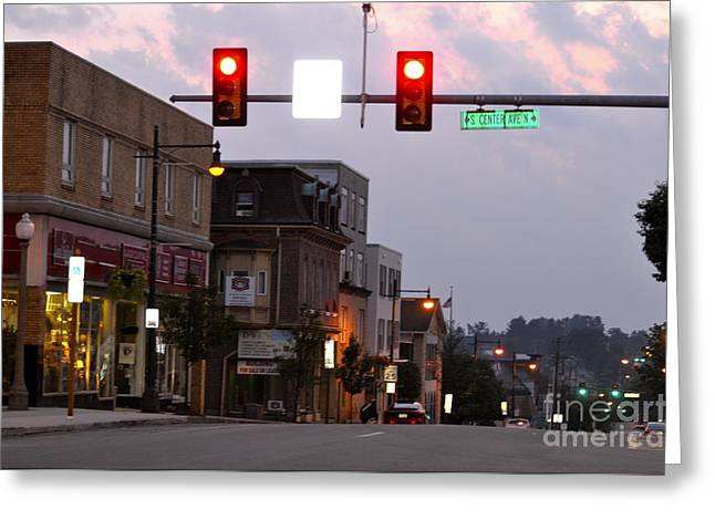 Redlight Greeting Cards - South Center Avenue Greeting Card by Penny Neimiller