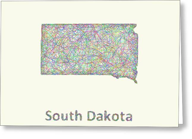 South Dakota Map Greeting Cards - South Dakota line art map Greeting Card by David Zydd