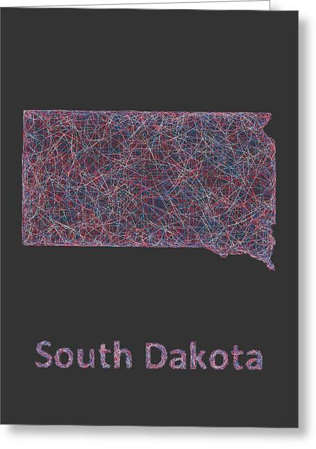 South Dakota Map Greeting Cards - South Dakota map Greeting Card by David Zydd