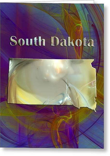 South Dakota State Map Greeting Cards - South Dakota Map Greeting Card by Roger Wedegis