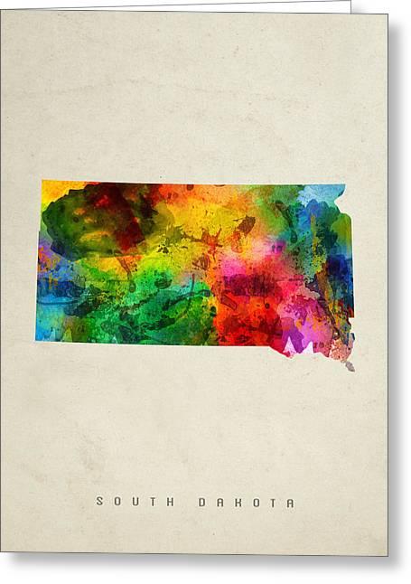 South Dakota State Map Greeting Cards - South Dakota State Map 01 Greeting Card by Aged Pixel