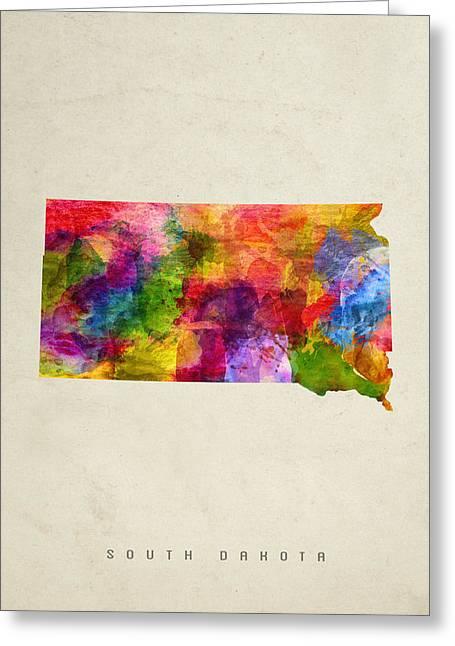 South Dakota State Map Greeting Cards - South Dakota State Map 02 Greeting Card by Aged Pixel