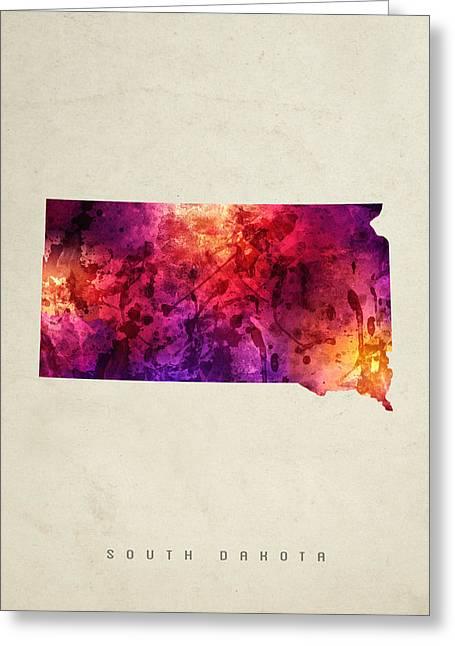 South Dakota State Map Greeting Cards - South Dakota State Map 05 Greeting Card by Aged Pixel