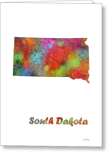 South Dakota Map Greeting Cards - South Dakota State Map Greeting Card by Marlene Watson