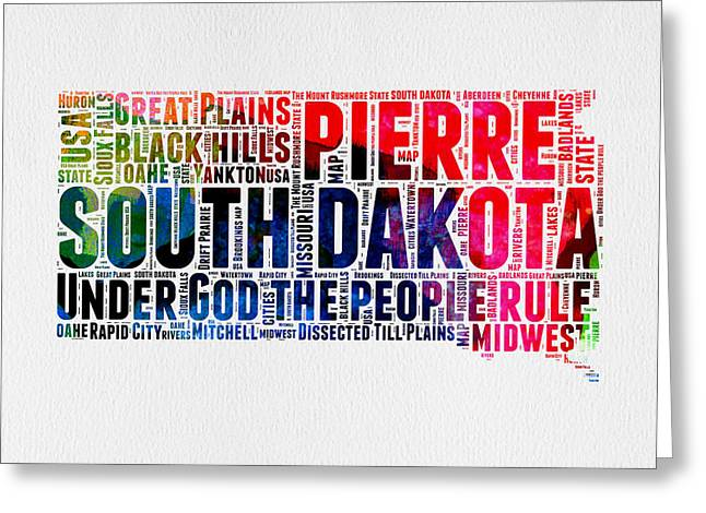 South Dakota Map Greeting Cards - South Dakota Watercolor Word Cloud Greeting Card by Naxart Studio