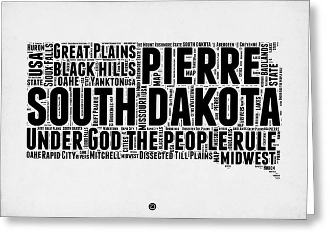 South Dakota Map Greeting Cards - South Dakota Word Cloud 1 Greeting Card by Naxart Studio