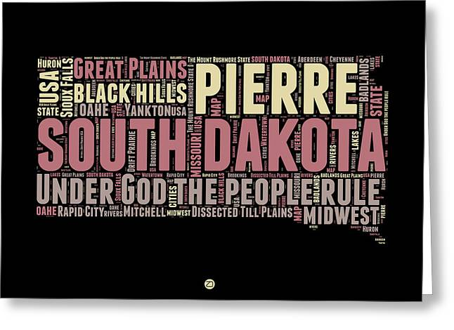 South Dakota Map Greeting Cards - South Dakota Word Cloud 2 Greeting Card by Naxart Studio