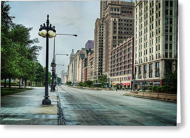 Light Pole Greeting Cards - South Down Michigan Avenue Greeting Card by Noah Katz