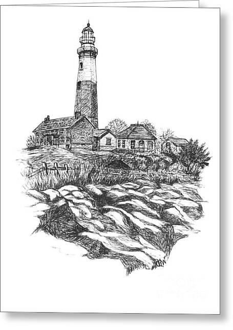 Atlantic Beaches Drawings Greeting Cards - South Fork Lighthouse L I N Y  bw Greeting Card by Carol Wisniewski