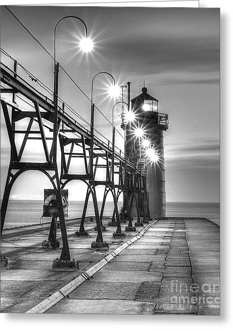 Pier Prints Greeting Cards - South Haven Light Greeting Card by Twenty Two North Photography