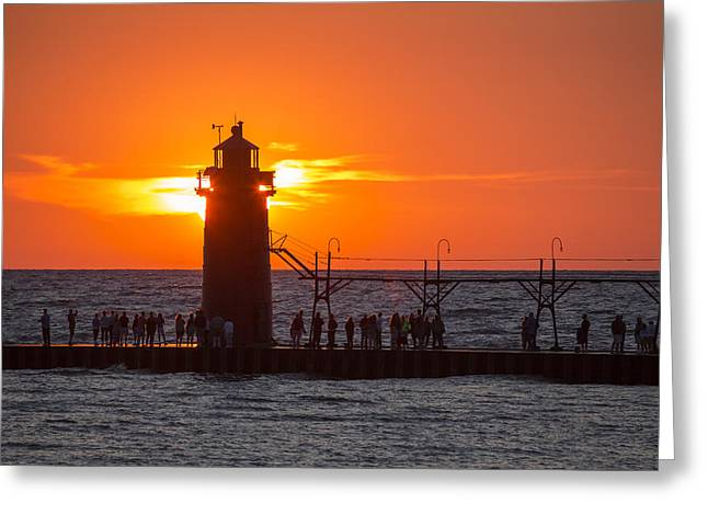 Harbour Wall Greeting Cards - South Haven Michigan Sunset Greeting Card by Adam Romanowicz