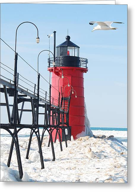 Peychich Greeting Cards - South Haven Pierhead Light Greeting Card by Michael Peychich