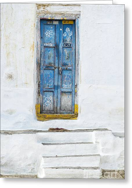 Tattered Greeting Cards - South Indian Door Greeting Card by Tim Gainey