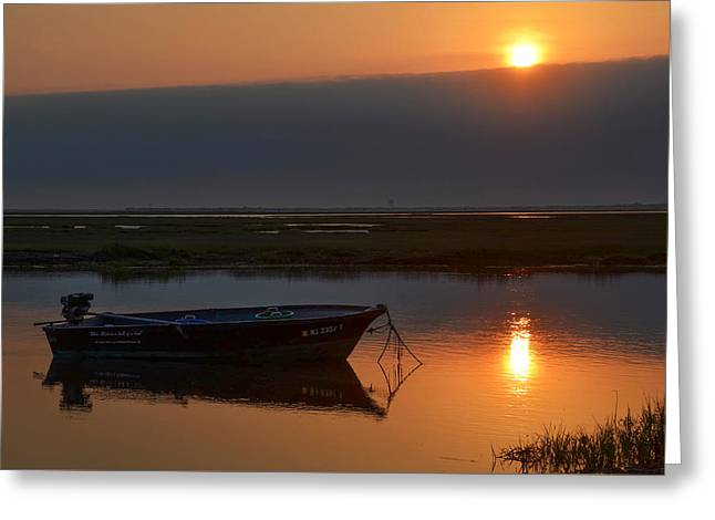 Greeting Cards - South Jersey Sunrise - Fishing Boat Greeting Card by Bill Cannon
