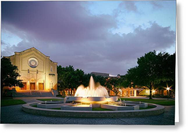 Religious Art Photographs Greeting Cards - South Main Baptist Church at Twilight - Midtown Houston Texas Greeting Card by Silvio Ligutti