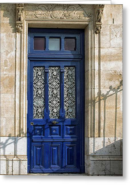 South West France Greeting Cards - South of France Blue Door Shadows Greeting Card by Nomad Art And  Design
