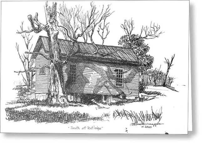 Pen And Ink Rural Drawings Greeting Cards - South of Rutledge Greeting Card by Peter Muzyka