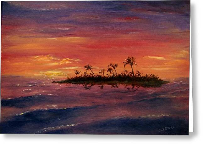 Jack Skinner Paintings Greeting Cards - South Pacific Atoll Greeting Card by Jack Skinner