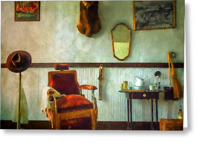 Old Pitcher Greeting Cards - South Pass City Barber Shop Greeting Card by Priscilla Burgers