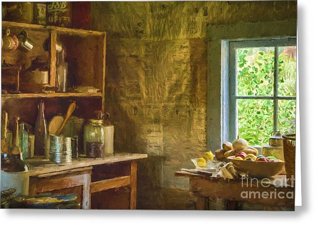 Log Cabins Greeting Cards - South Pass City Kitchen  Greeting Card by Priscilla Burgers