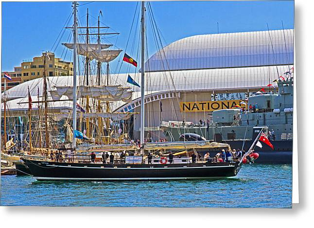 Tall Ship Greeting Cards - South Passage Arrives In Darling Harbour Greeting Card by Miroslava Jurcik