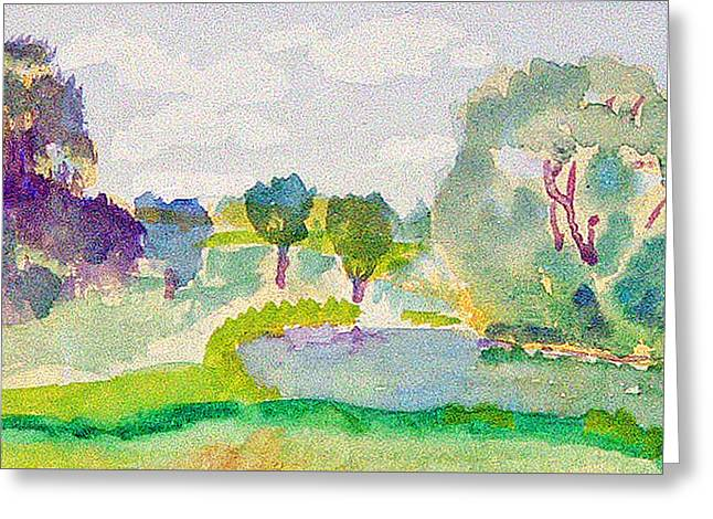 Bryant Paintings Greeting Cards - South Pond Greeting Card by Paul Thompson