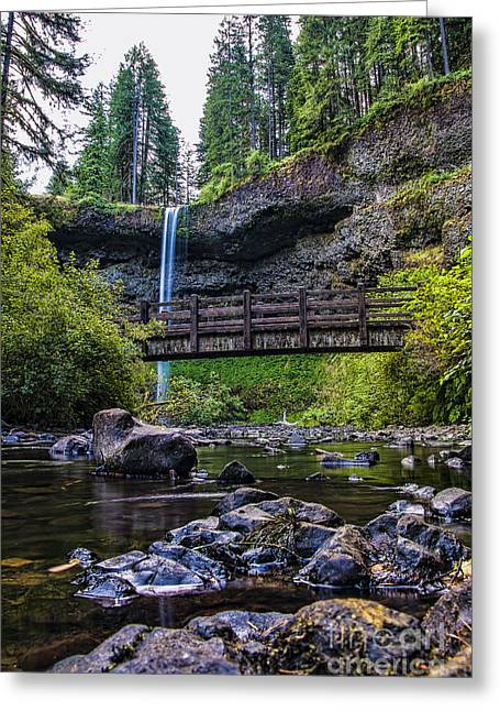 Trekking Greeting Cards - South Silver Falls with Bridge Greeting Card by Darcy Michaelchuk