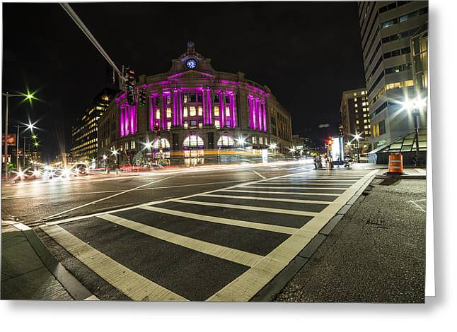 South Station Boston Ma Movement In The Night Greeting Card by Toby McGuire