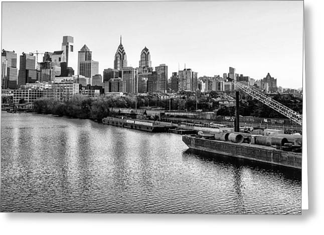 River View Greeting Cards - South Street Bridge View of Philadelphia in Black and White Greeting Card by Bill Cannon
