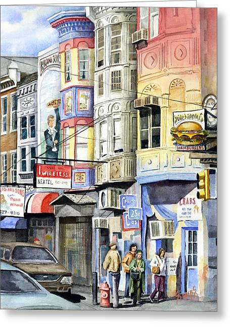 Hamburger Paintings Greeting Cards - South Street Greeting Card by Sam Sidders
