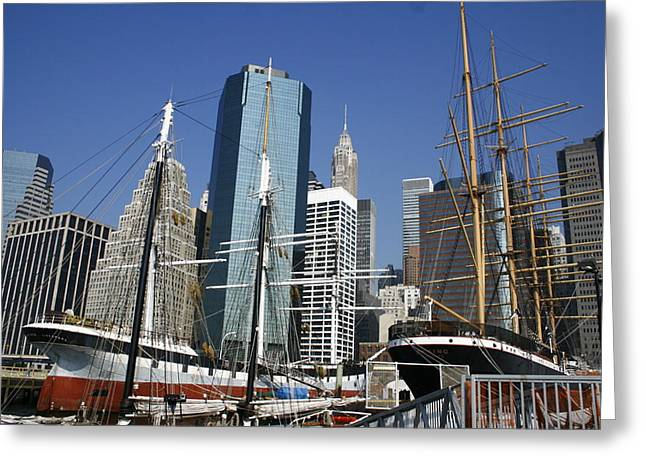 Pier 17 Greeting Cards - South Street Seaport and Lower Manhattan Greeting Card by Christopher Kirby
