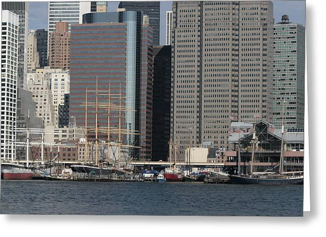Pier 17 Greeting Cards - South Street Seaport from Brooklyn Greeting Card by Christopher Kirby