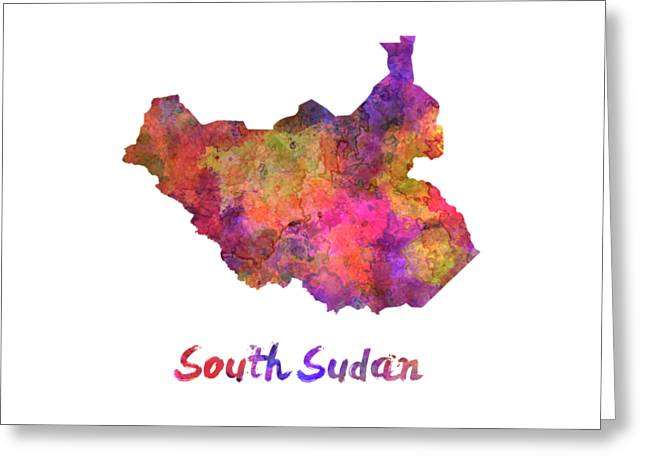 South Sudan In Watercolor Greeting Card by Pablo Romero