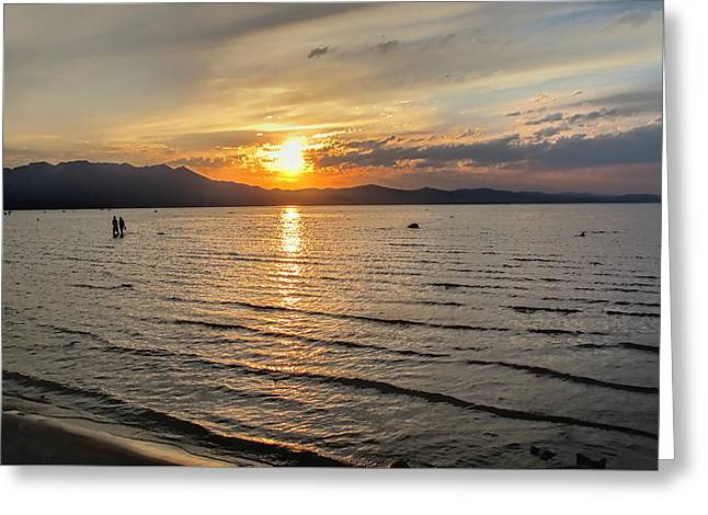 Siera Nevada Greeting Cards - South Tahoe Sunset Greeting Card by Pat Cook