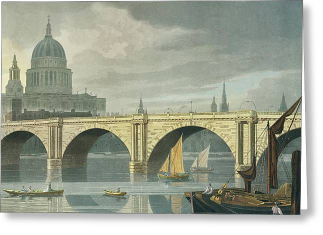 South West View Of St Pauls Cathedral And Blackfriars Bridge Greeting Card by George Fennel Robson
