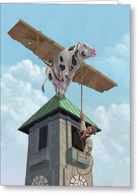 Cardboard Greeting Cards - Southampton Cow Flight Greeting Card by Martin Davey