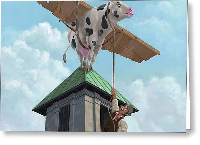 southampton cow flight Greeting Card by Martin Davey