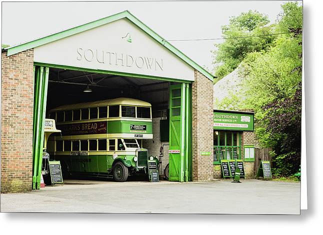 Southdown Bus Greeting Card by Angela Aird