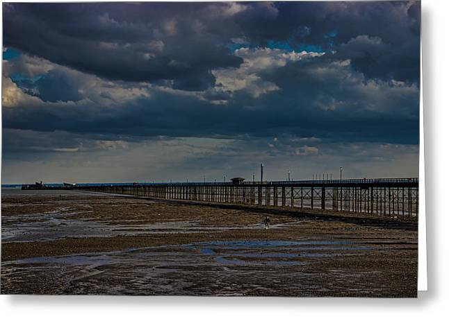 Stormy Clouds Greeting Cards - Southend Pier Greeting Card by Martin Newman