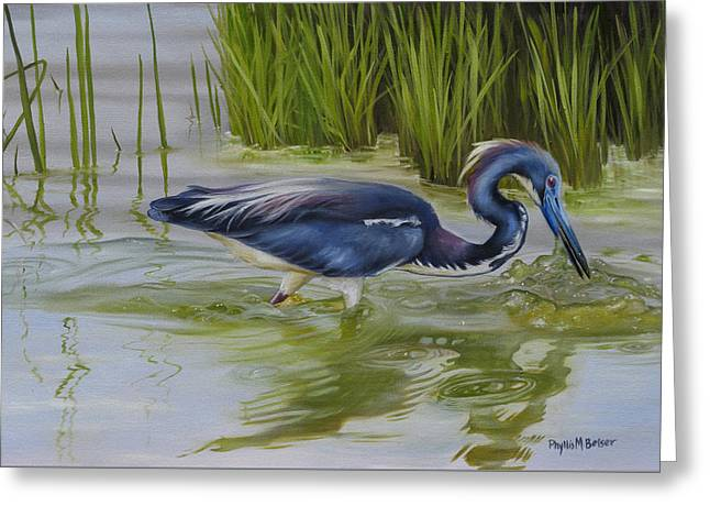 Hunting Bird Greeting Cards - Southern Blues Greeting Card by Phyllis Beiser