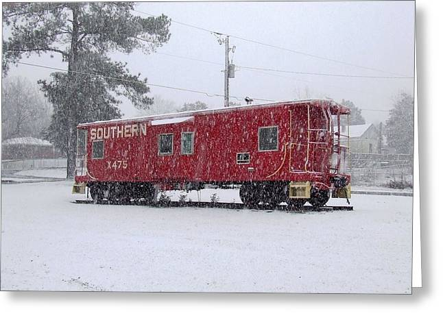 Langley Pyrography Greeting Cards - Southern Caboose in snow Greeting Card by Joseph Johns