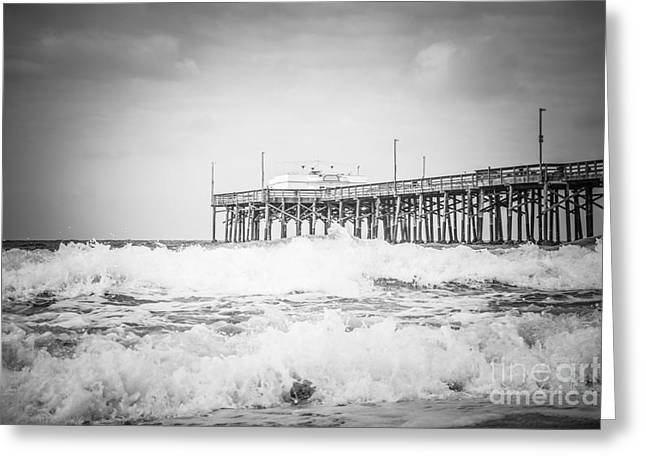 Southern California Pier Black And White Picture Greeting Card by Paul Velgos
