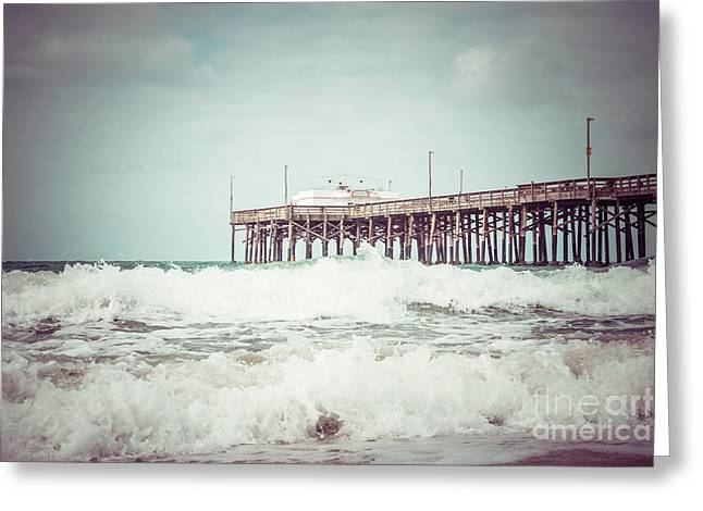 Balboa Peninsula Greeting Cards - Southern California Pier Vintage 1950s Picture Greeting Card by Paul Velgos