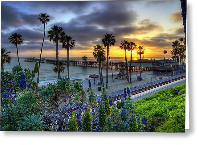 Piers Greeting Cards - Southern California Sunset Greeting Card by Sean Foster