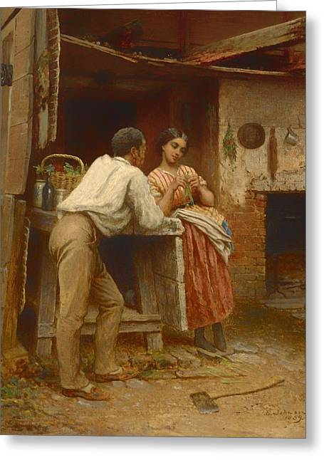 Slaves Greeting Cards - Southern Courtship Greeting Card by Eastman Johnson