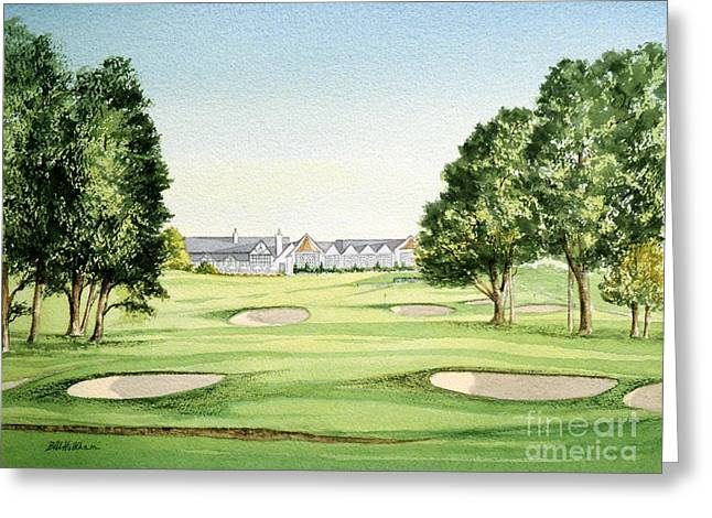 Us Open Greeting Cards - Southern Hills Golf Course 18th Hole Greeting Card by Bill Holkham