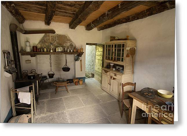 Ticino Canton Greeting Cards - A Historic Italian Farm Kitchen in Southern Switzerland Greeting Card by Gary Whitton
