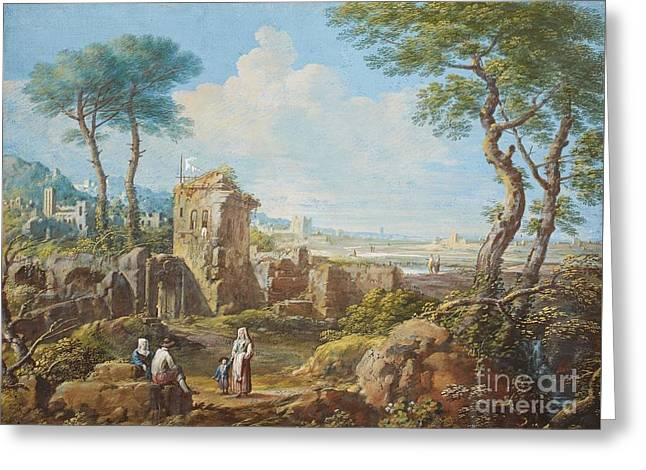 Southern Landscapes With Ruins And Staffage  Greeting Card by MotionAge Designs