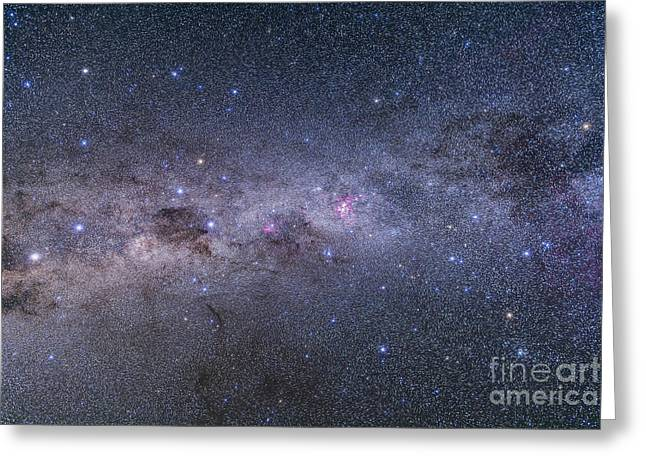 Double Cluster Greeting Cards - Southern Milky Way From Vela Greeting Card by Alan Dyer